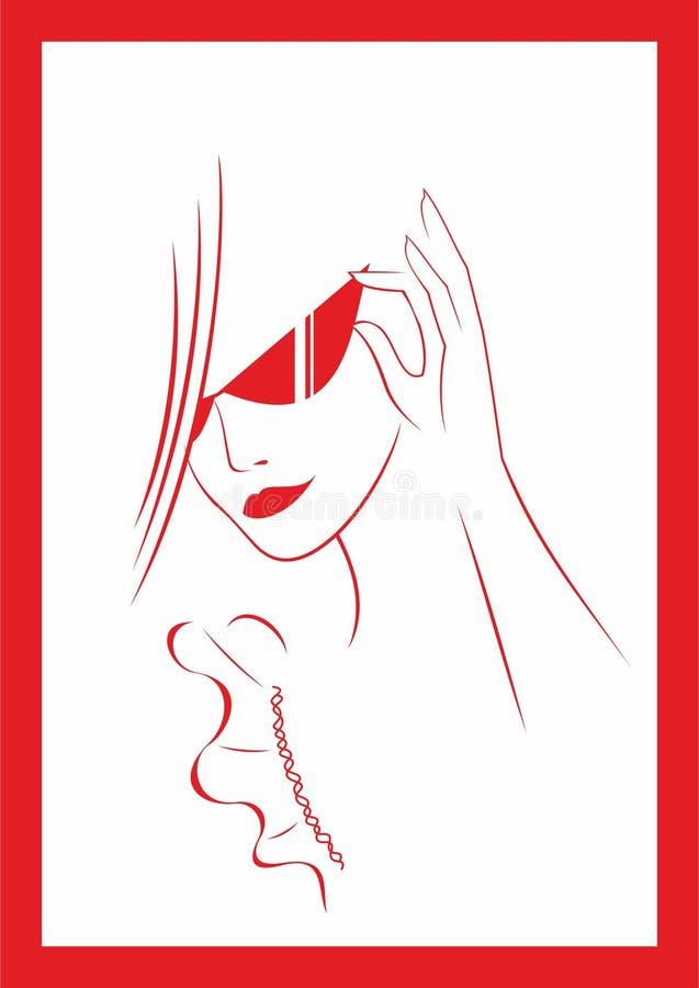Mujer en vidrios ilustración del vector