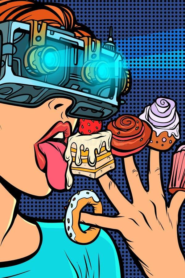 Mujer en vidrios de la realidad virtual que come los dulces stock de ilustración