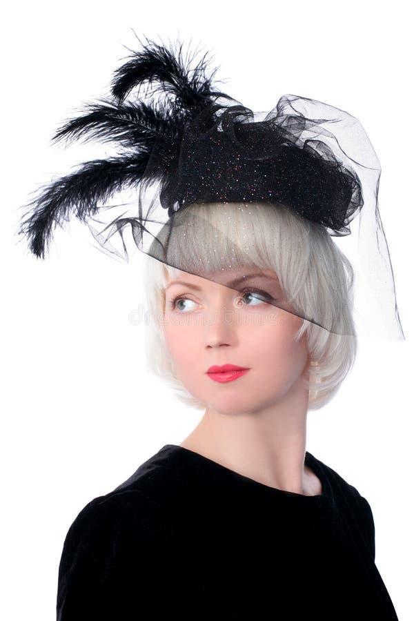 Mujer encantadora en estilo retro imagen de archivo libre de regalías