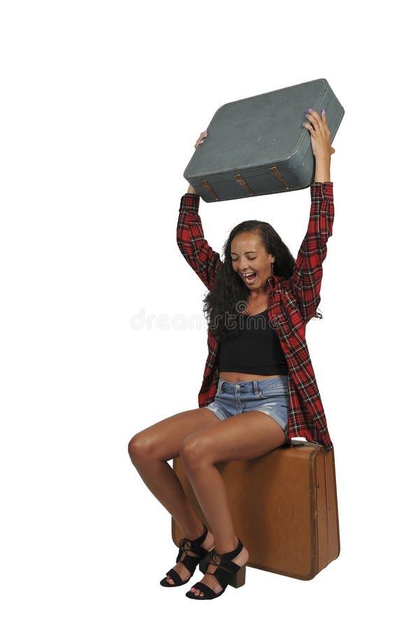 Mujer enojada que viaja el vacaciones fotos de archivo libres de regalías