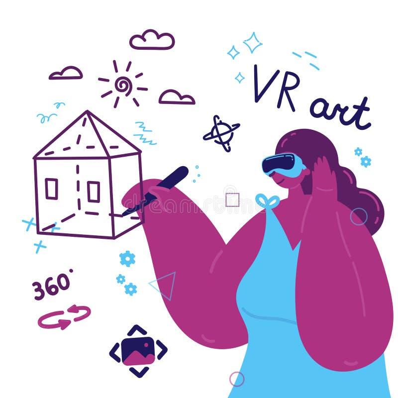 Mujer entusiasta que usa una realidad virtual libre illustration