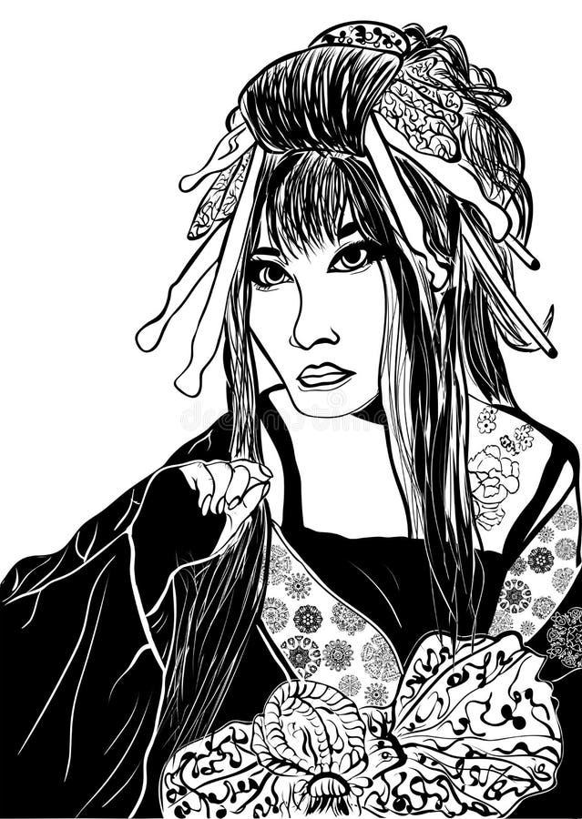 Mujer estilizada del geisha de la historieta ilustración del vector