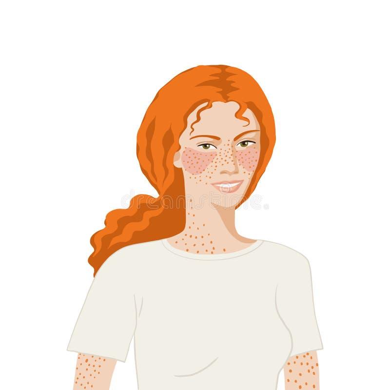 Mujer europea de cabeza roja realista y plana de fondo blanco ilustración del vector