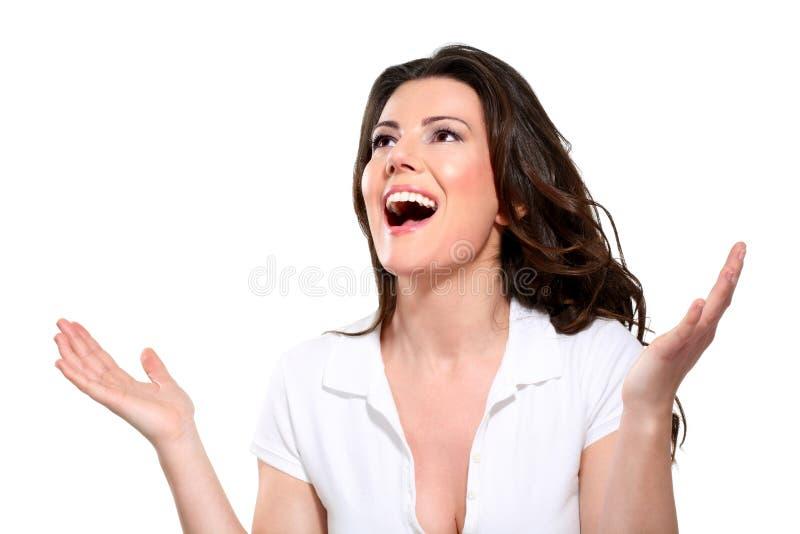 Mujer expresiva feliz hermosa joven fotografía de archivo
