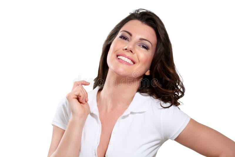 Mujer expresiva feliz hermosa joven imágenes de archivo libres de regalías