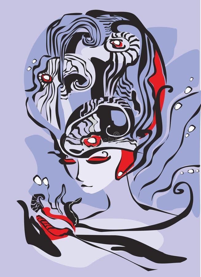 Mujer fantástica stock de ilustración