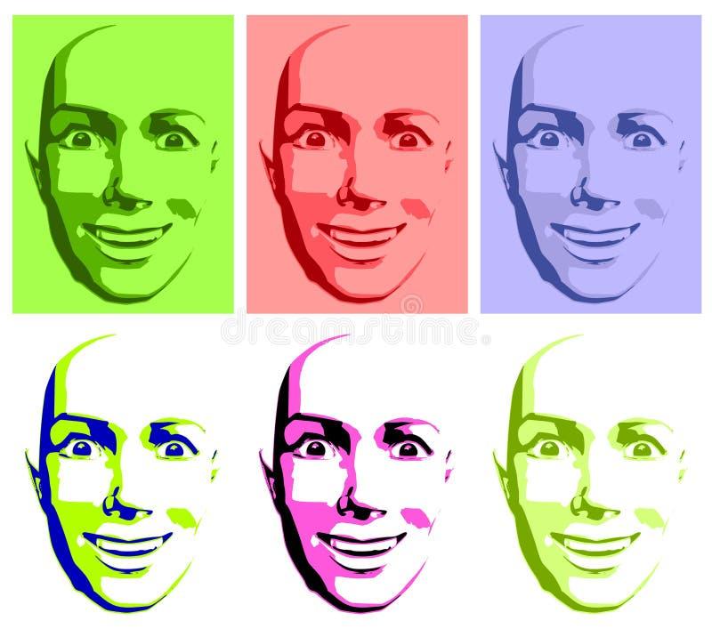 Mujer feliz abstracta de la cara del arte pop ilustración del vector