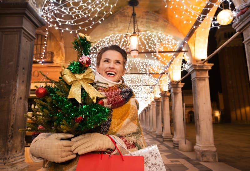 Mujer feliz con el árbol de navidad y los panieres en Venecia fotografía de archivo libre de regalías