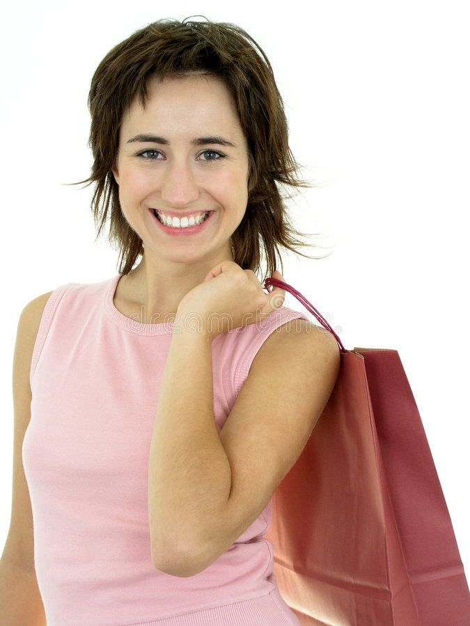 Mujer feliz con el bolso de compras imagen de archivo libre de regalías