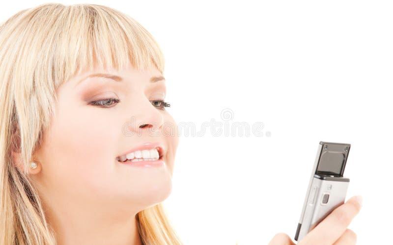 Download Mujer Feliz Con El Teléfono Celular Foto de archivo - Imagen de hermoso, hembra: 41904958