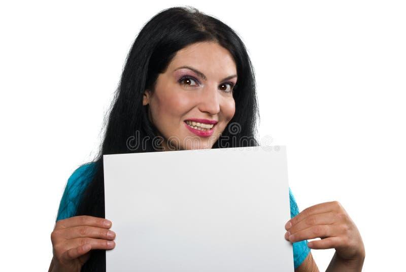 Mujer feliz con la muestra en blanco fotos de archivo libres de regalías