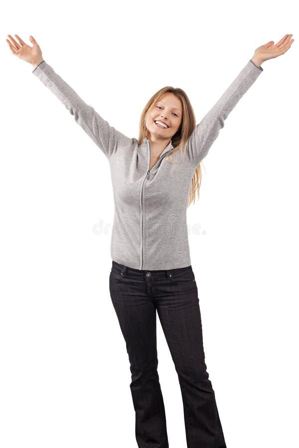 Mujer Feliz Con Los Brazos En El Aire Imágenes de archivo libres de regalías