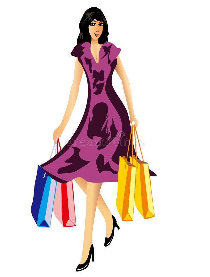 Mujer feliz de las compras con los panieres stock de ilustración