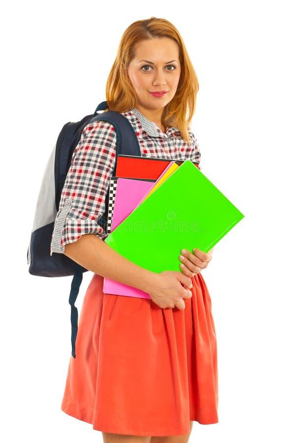 Mujer feliz del estudiante foto de archivo