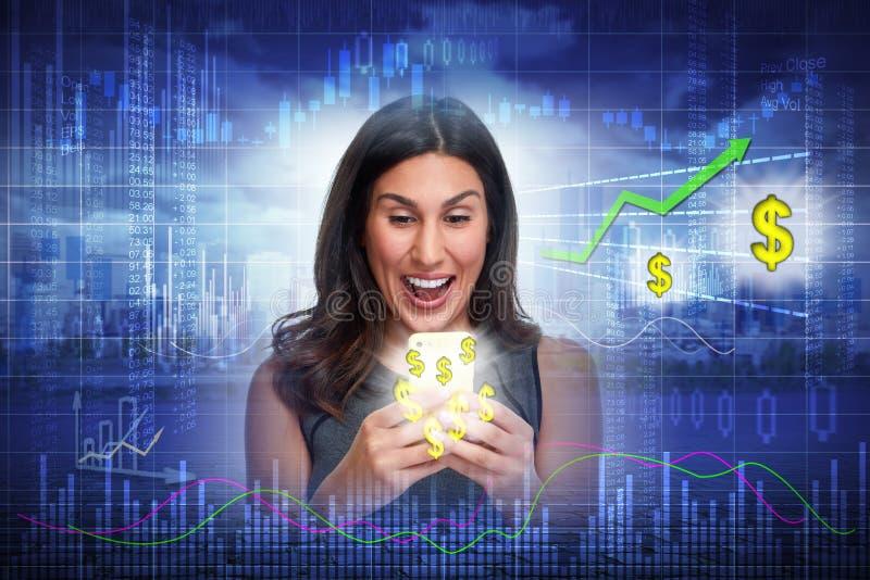Mujer feliz del inversor imagen de archivo