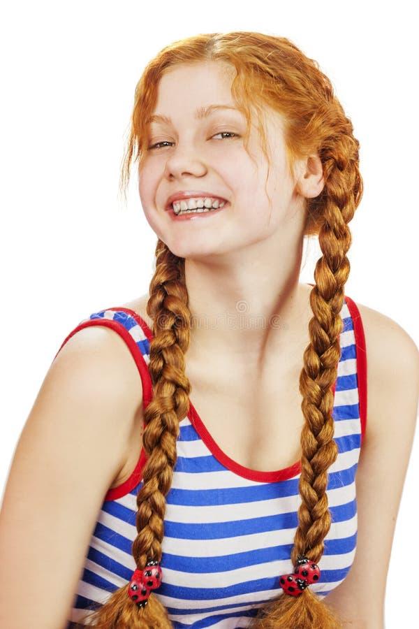 Mujer feliz del redhead fotografía de archivo