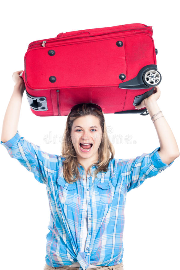Mujer feliz del viajero con equipaje imagen de archivo libre de regalías