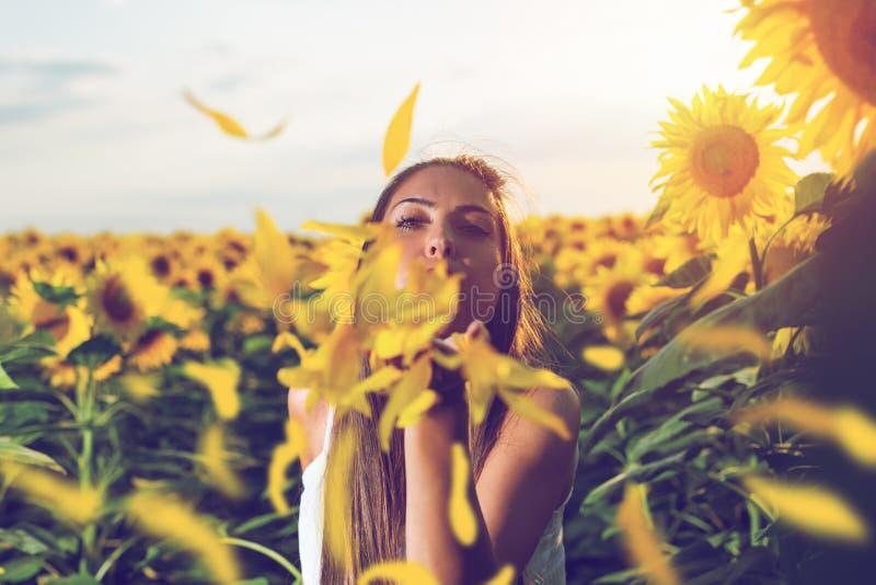 Mujer feliz en campo del girasol imagen de archivo