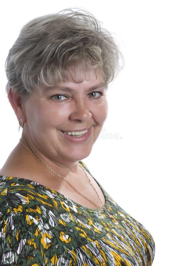 Mujer feliz en el fondo blanco fotografía de archivo