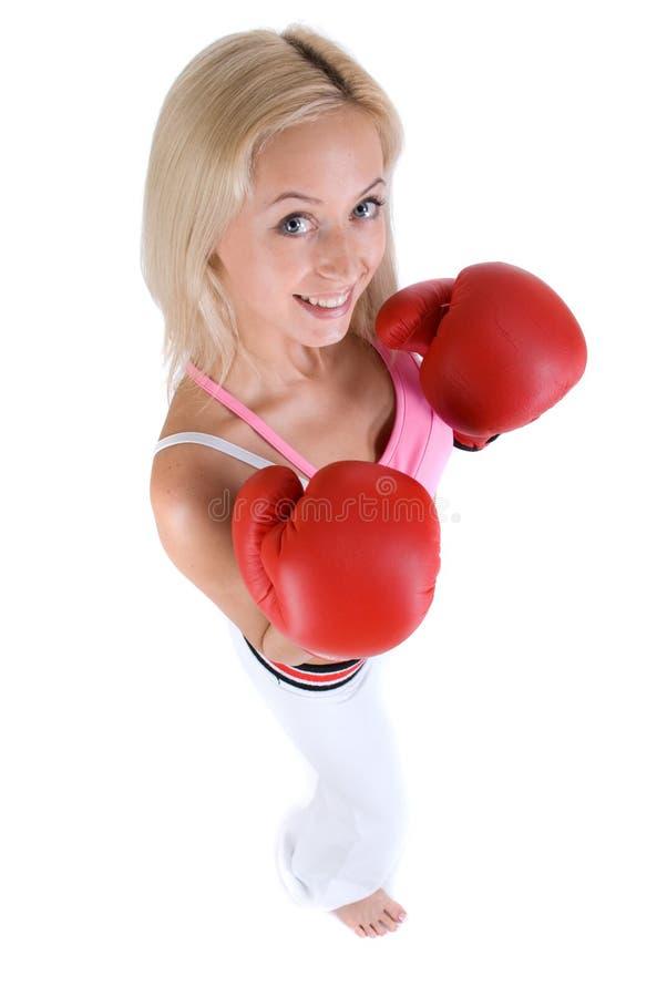 Mujer feliz en guantes rojos del rectángulo imagen de archivo