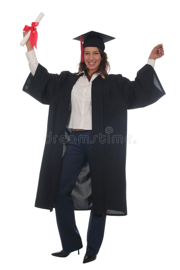 Mujer feliz en la graduación imagen de archivo