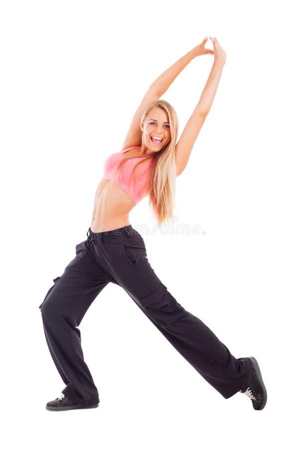 Mujer feliz joven aislada en blanco fotos de archivo
