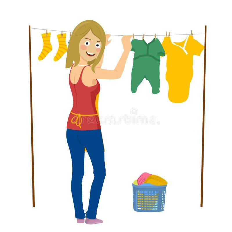 Mujer feliz joven que cuelga para arriba el lavadero aislado en blanco stock de ilustración