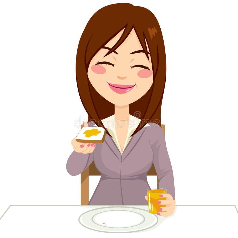 Mujer feliz que desayuna stock de ilustración