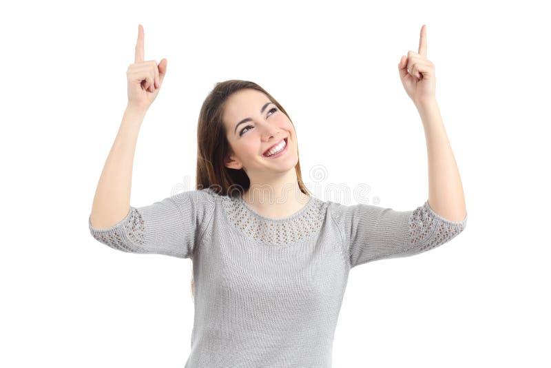 Mujer feliz que destaca con ambas manos imágenes de archivo libres de regalías