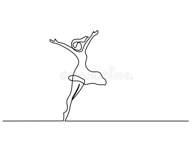 Mujer feliz que estira el un dibujo lineal continuo stock de ilustración