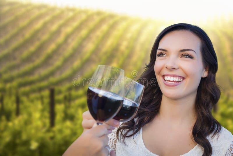 Mujer feliz que goza del vidrio de vino en viñedo con los amigos foto de archivo libre de regalías