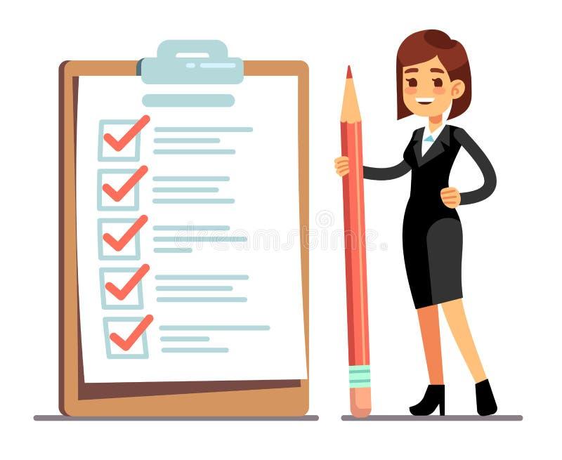 Mujer feliz que sostiene el lápiz en la lista de control gigante del horario con las marcas de la señal Organización de la empres ilustración del vector