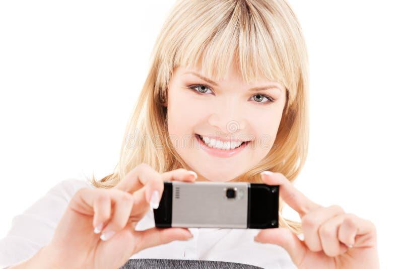 Download Mujer Feliz Que Usa La Cámara Del Teléfono Foto de archivo - Imagen de adminículo, señora: 41904964