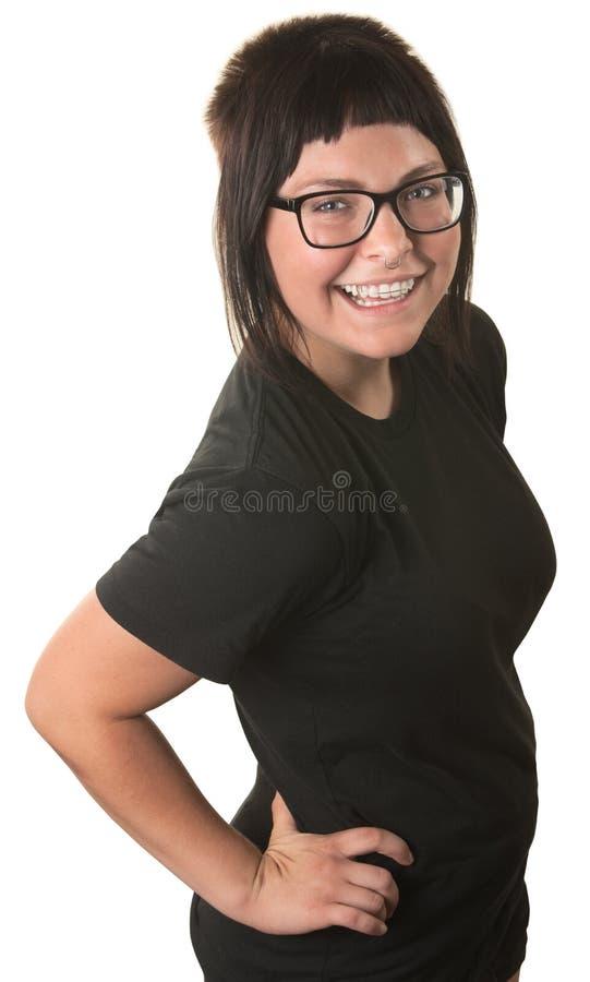 Mujer feliz sobre blanco fotografía de archivo