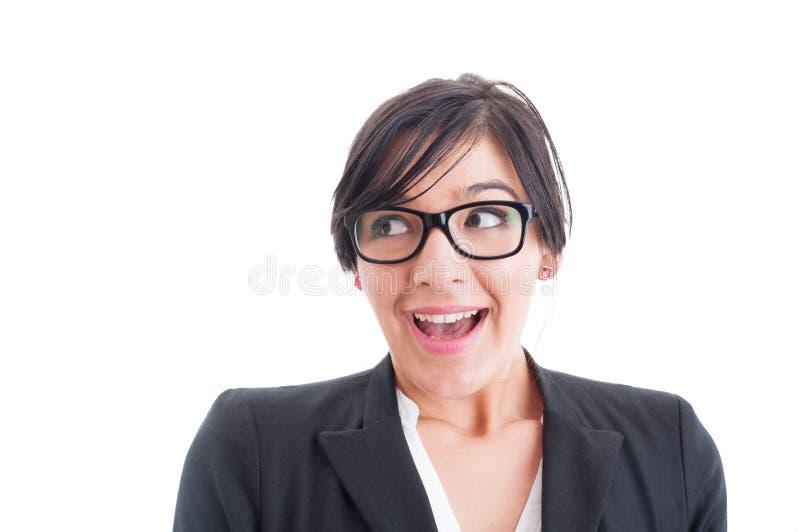 Mujer feliz y sorprendida con la boca abierta fotografía de archivo libre de regalías