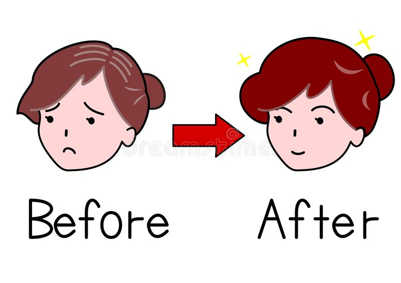 Mujer fina del pelo y mujer gruesa del pelo stock de ilustración
