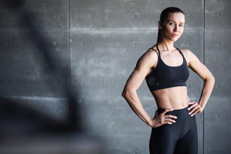 Mujer fitness que muestra su cuerpo muscular esculpido perfecto imagen de archivo