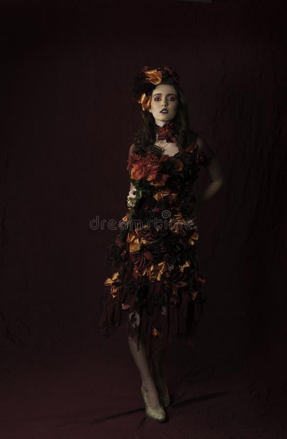 Mujer floral de la fantasía del otoño imágenes de archivo libres de regalías