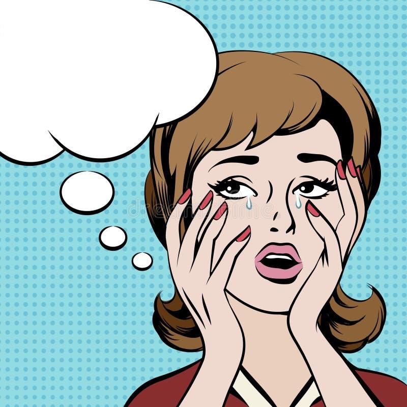 Mujer frustrada gritadora con la burbuja vacía del discurso stock de ilustración