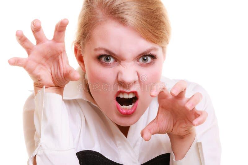 Mujer furiosa de la empresaria enojada que grita fotos de archivo