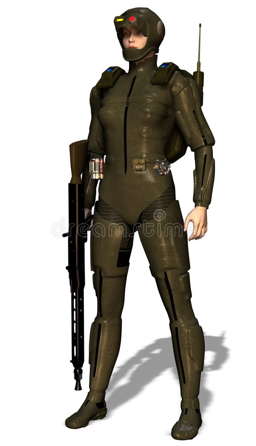 Mujer futurista del soldado stock de ilustración