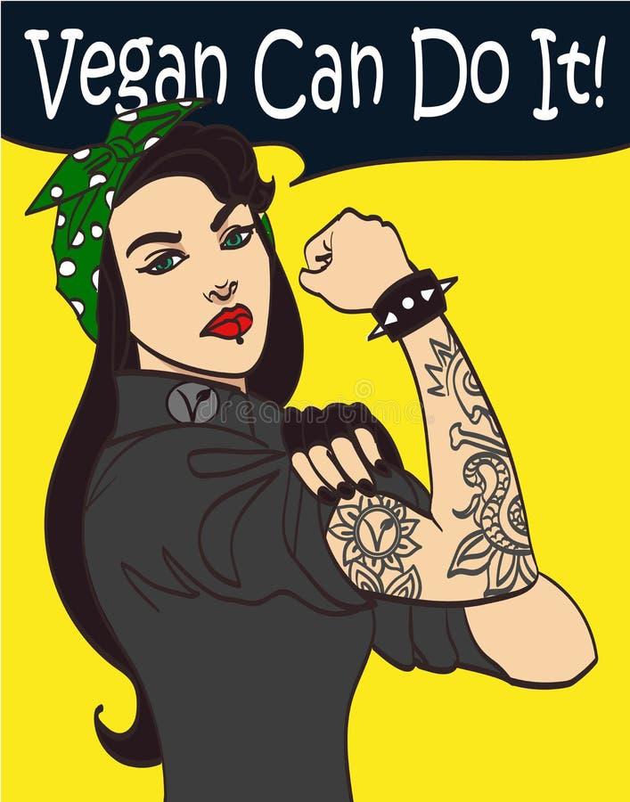 Mujer gótica punky dibujada agradable fresca del subcultivo del vector con la firma vegano podemos hacerla En capas, EPS 10 stock de ilustración