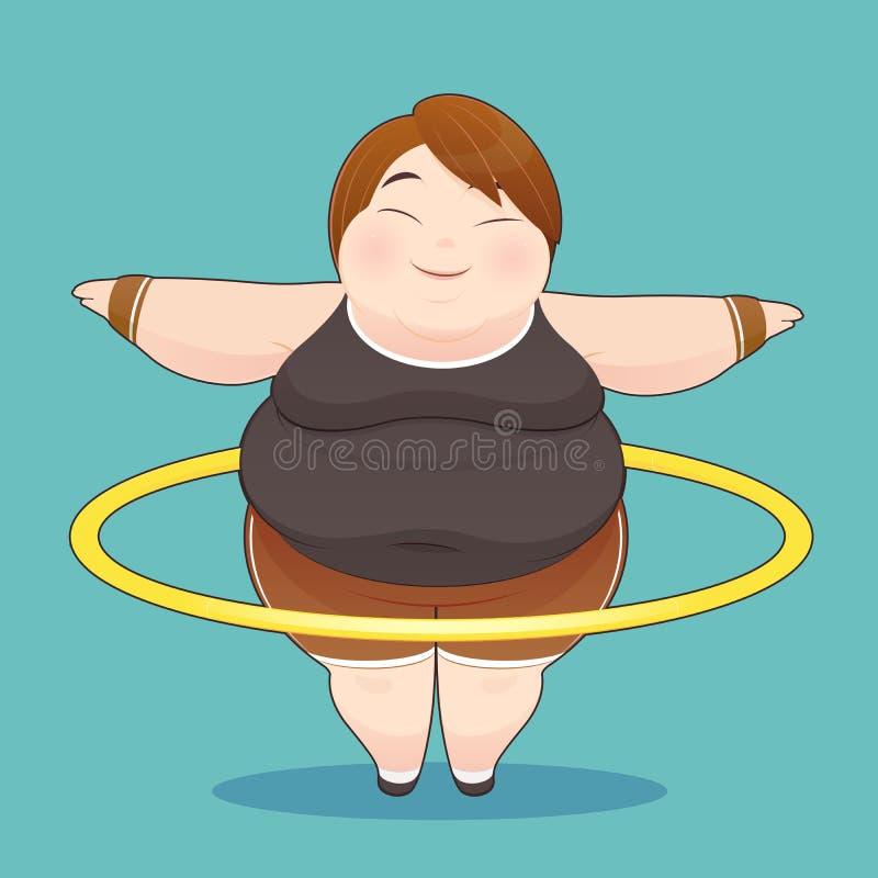 Mujer gorda con el aro del hula que gira libre illustration