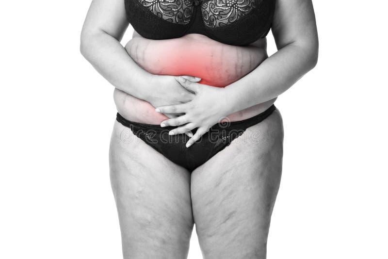 Mujer gorda con el dolor, la endometriosis o la cistitis menstrual, dolor de estómago, cuerpo femenino gordo aislado en el fondo  imagen de archivo libre de regalías