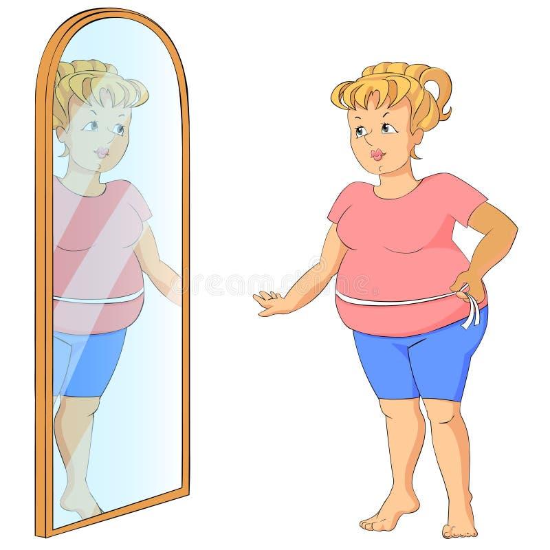 Mujer gorda con la cinta de la medida. ilustración del vector