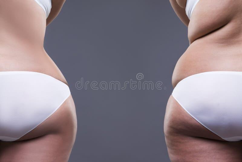 Mujer gorda con las piernas y las nalgas gordas, antes después del concepto, cuerpo femenino de la obesidad, vista posterior fotos de archivo libres de regalías