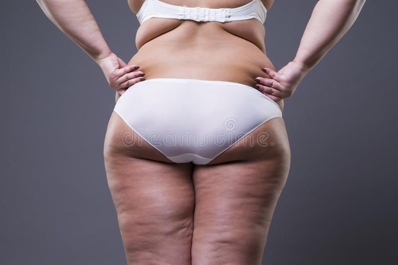 Mujer gorda con las piernas y las nalgas gordas, cuerpo femenino de la obesidad imágenes de archivo libres de regalías