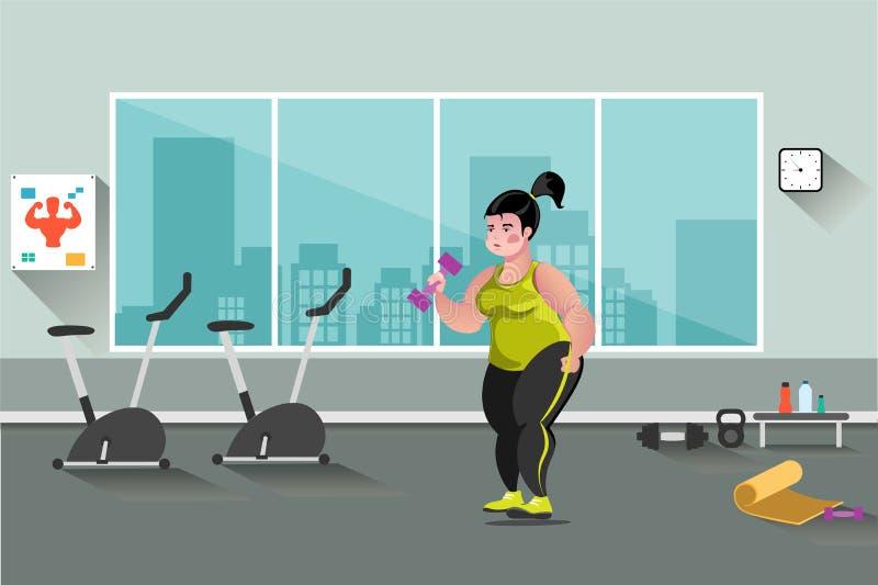 Mujer gorda en el gimnasio libre illustration