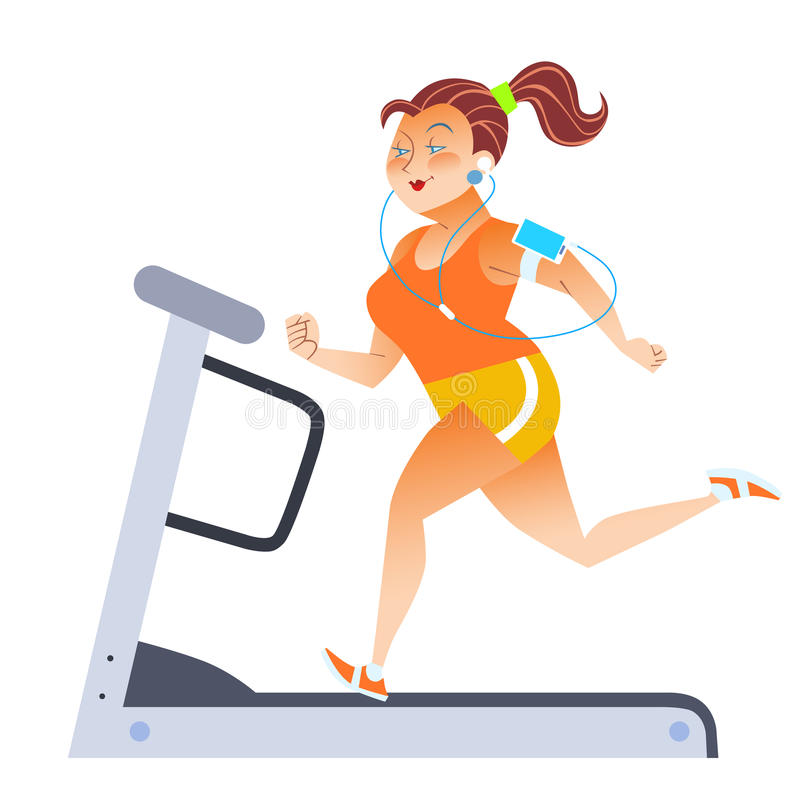 Mujer gorda en la rueda de ardilla inmóvil del deporte stock de ilustración