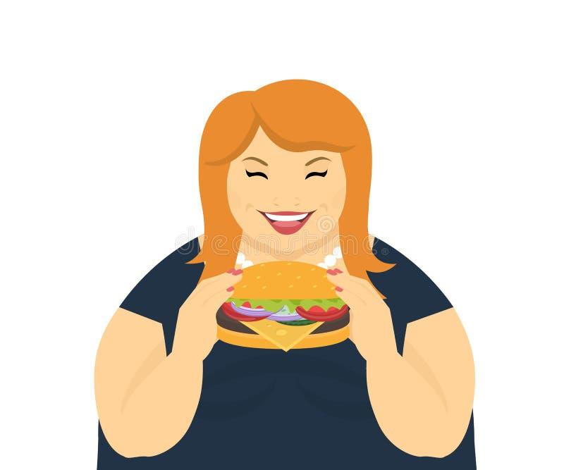 Mujer gorda feliz que come una hamburguesa grande libre illustration